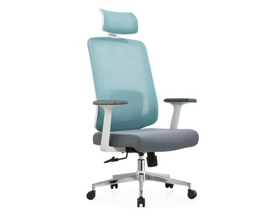 Ofix Deluxe-Z22 High Back Mesh Chair (Gray+Blue, Grey)
