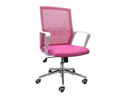 (Sale) Ofix Premium-33 Mid Back Mesh Chair (Pink) (Backrest Mesh Torn) (Torn/Scratches/Light Stains)