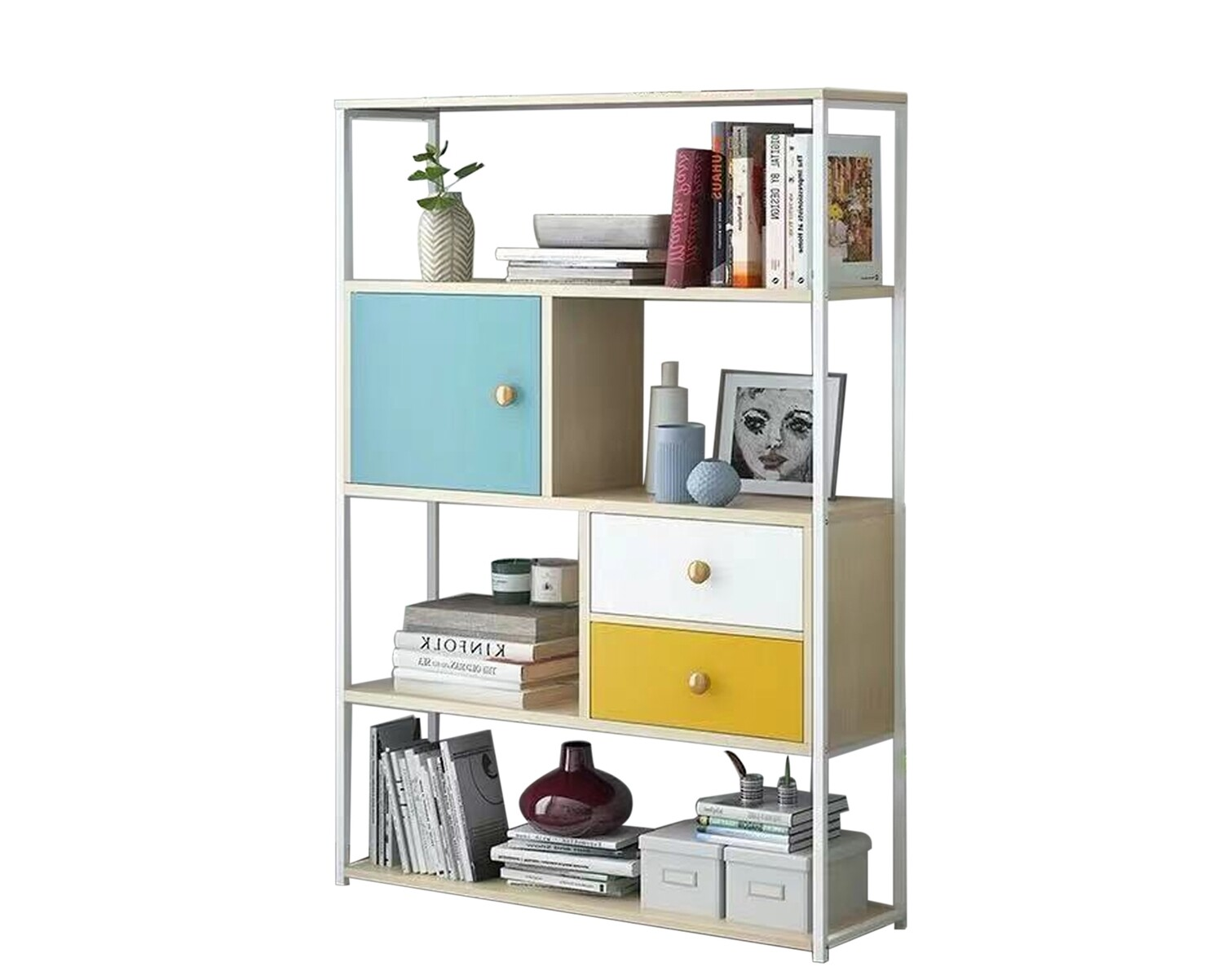 Ofix Aliyah Wooden Bookshelf (White)
