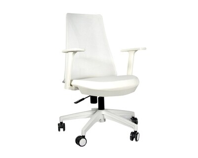(Sale) Ofix Korean-108/ 109 Mid Back Mesh Chair (All White) (Seat Cushion light Stains)