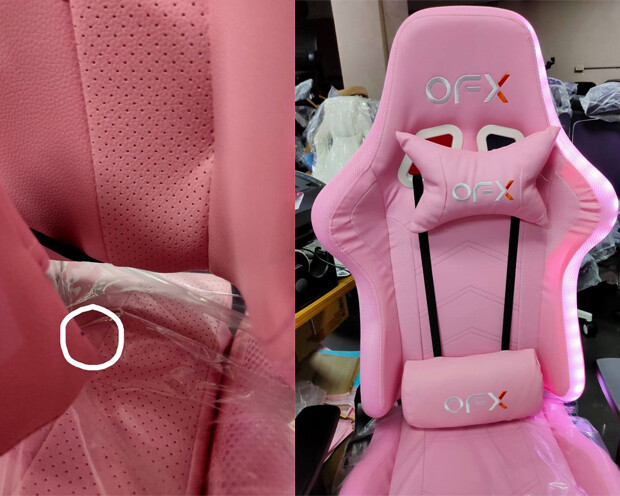 (Sale) OFX Neriah Steel Base RGB Motion Illuminated Gaming Chair (Pink) (RGB Right Side not working/Light Stain)