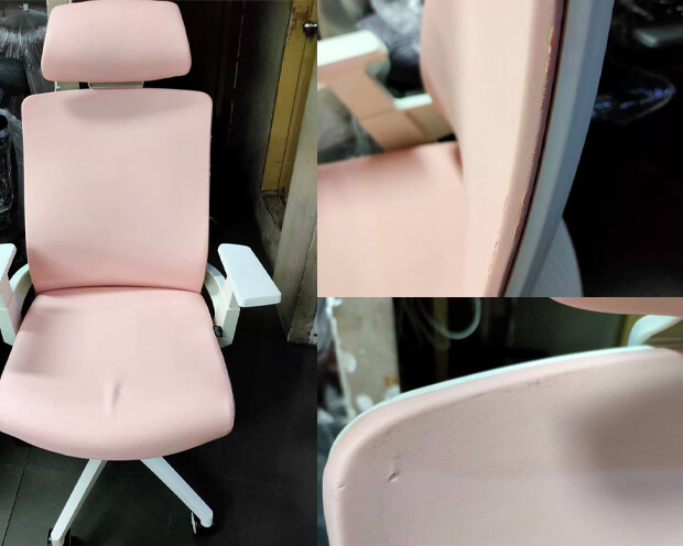 (Sale) Ofix Deluxe-F10W High Back PU Chair (Pink) (Scratches & Torn)
