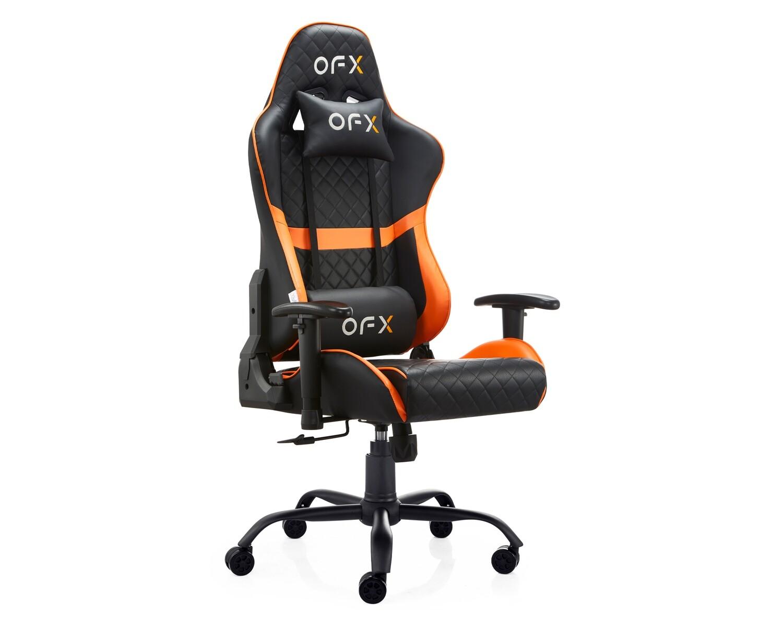 OFX David Diamond Pattern Steel Base Gaming Chair (Black, Black+Orange)