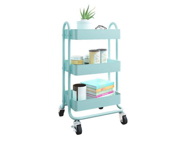 Ofix Travis 3-Layer Metal Trolley (White, Blue, Pink, Grey)
