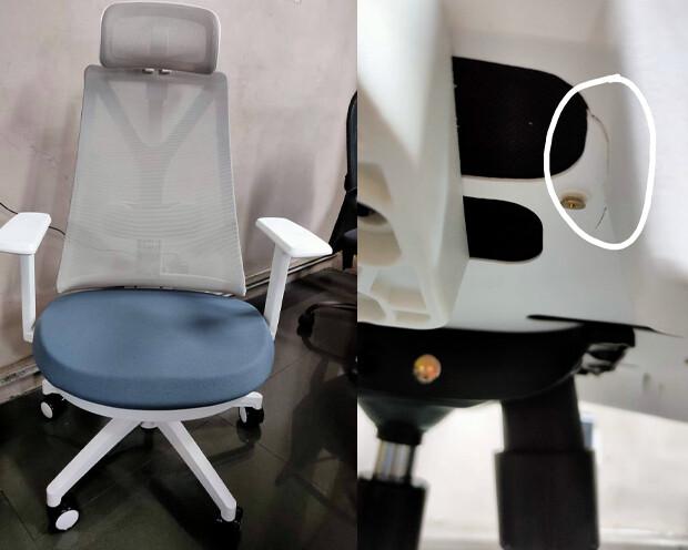 (Sale) Ofix Korean-108H/ 109H High Back Mesh Chair (Blue-Grey) (Light Scratches/Crack Below Seat Cushion)