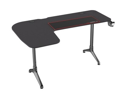 Ofix Giliad L-Shape Carbon Texture Gaming Desk (160*100*60) (Black)