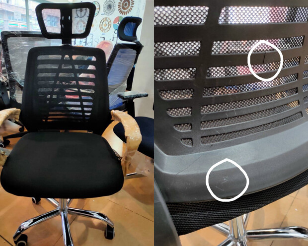 (Sale) Ofix Deluxe-43 High Back Mesh Office Chair (Black) (Scratches & Backrest Crack)