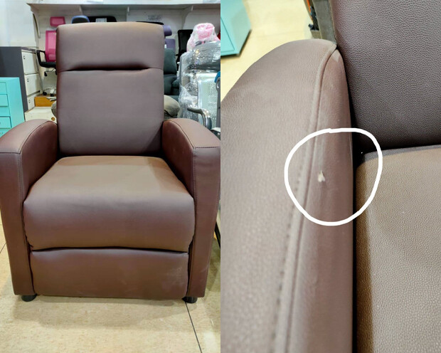 (Sale) Flotti Push Back Recliner (Brown) (Scratches & Torn)