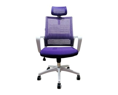 (Sale) Ofix Deluxe-45NW Nylon Base High Back Mesh Chair (Purple+White) (Seat Cushion Stains & Backrest Crack_