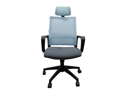 (Sale) Ofix Deluxe-45N Nylon Base High Back Mesh Chair (Blue+Grey) (Scratches&Torn)