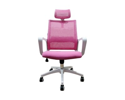 Ofix Deluxe-45N/45NW Nylon Base High Back Mesh Chair (Pink+White, Purple+White)