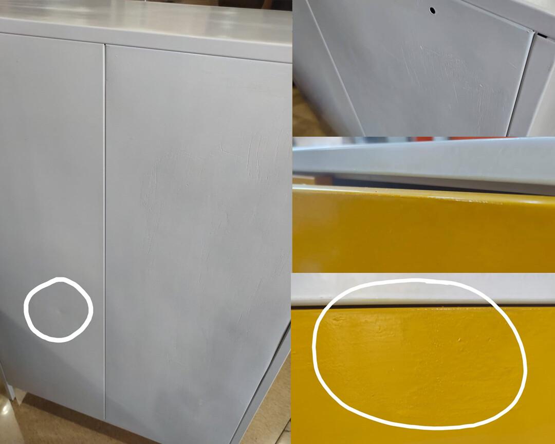 (Sale) Ofix Cassia 6-Door Small Steel Cabinet (Yellow) (Repaint/Dent/Scratches)
