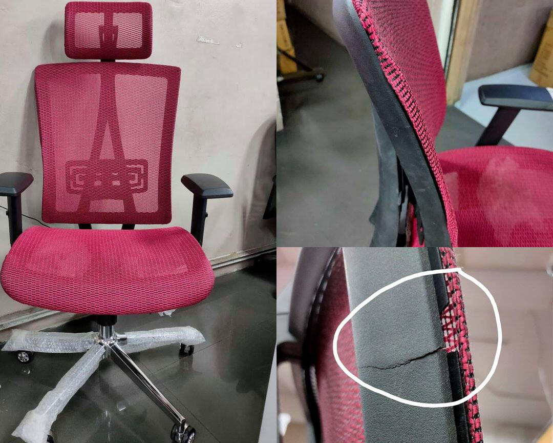 (Sale) Ofix Premium-35 High Back All-Mesh Chair (Red) (Backrest slightly apart & Crack)
