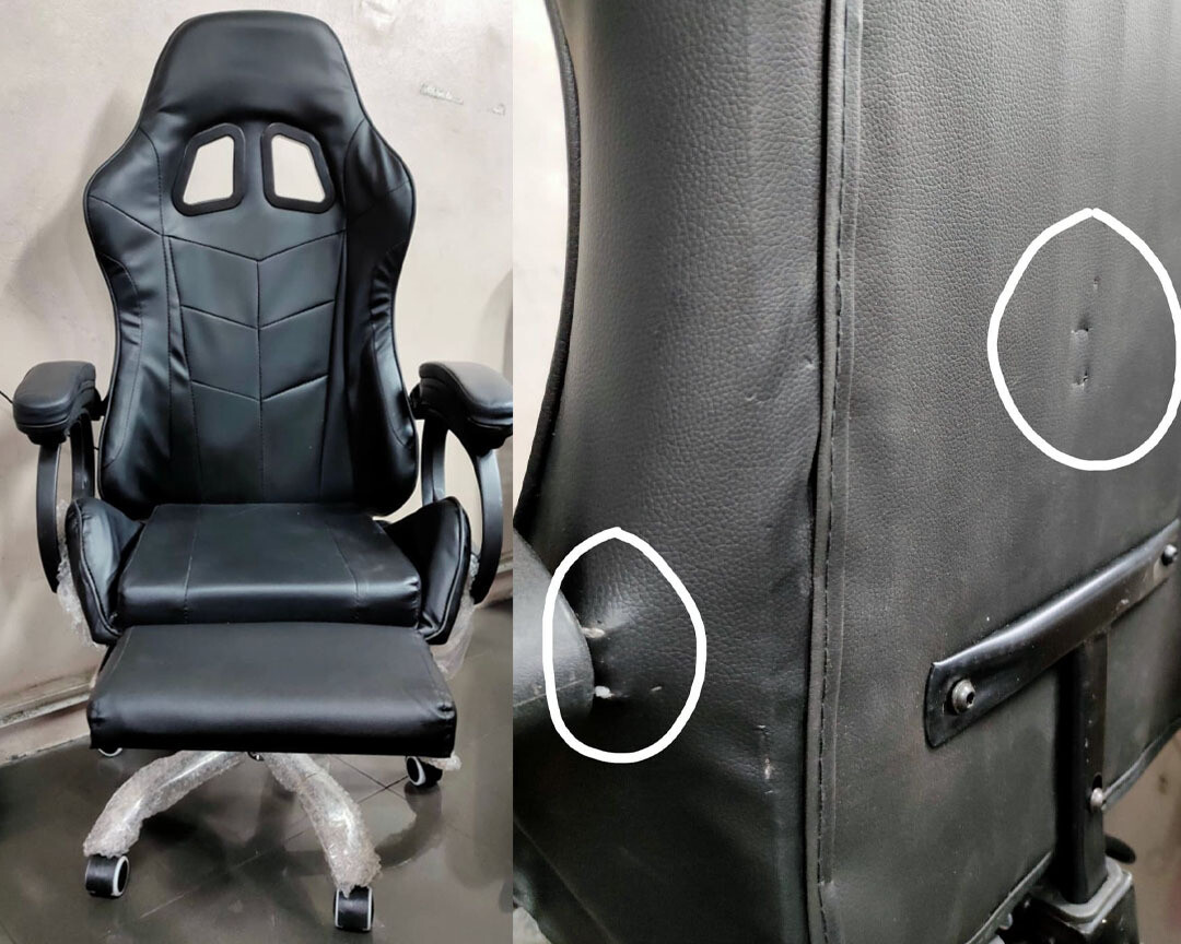 (Sale) OFX G11 Gaming Chair w/ Foot Rest (Black) (Torn & Dents)