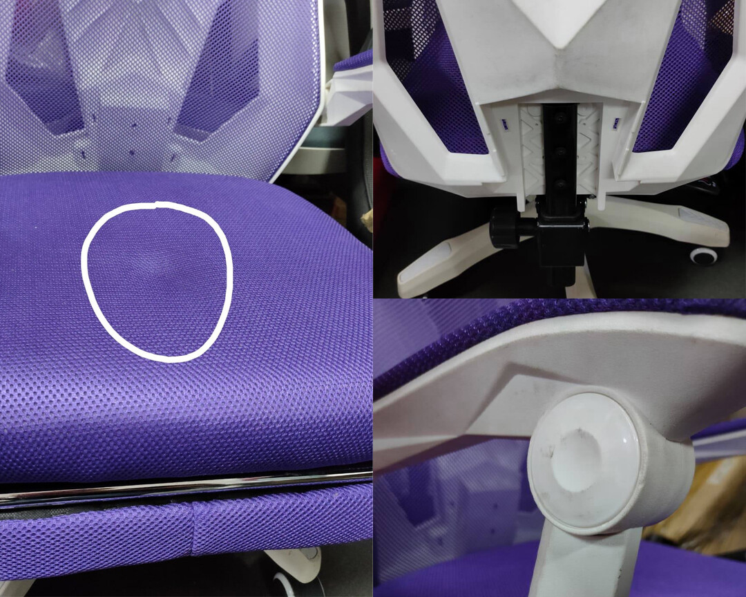 (Sale) OFX Alex w/ Footrest Gaming Chair (Purple+White) (Light Scratches/Stains) (Scratches/Dent/No Backrest Cover)