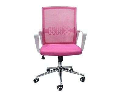 (Sale) Ofix Premium-33 Mid Back Mesh Chair (Pink) (Light Scratches/Torn/Stains)