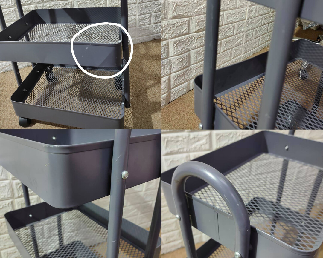 (Sale) Ofix Travis 3-Layer Metal Trolley (Grey) (Scratches & Dents)