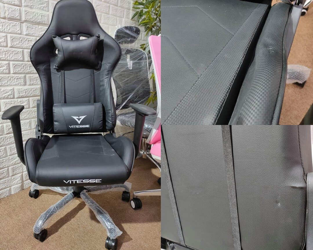 (Sale) OFX Vitesse Steel Base Gaming Chair (Black) (Scratches & Dents)