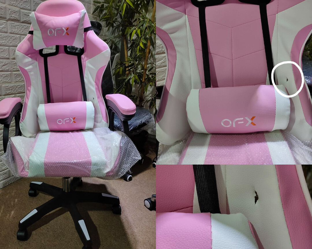 (Sale) OFX Aaron Gaming Chair (Pink+White) (Light Scratches/Stains) (Backrest Torn)