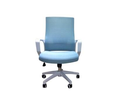 (Sale) Ofix Korean-F12S Mid Back Mesh Chair (White+Blue) (Backrest Mesh Torn)