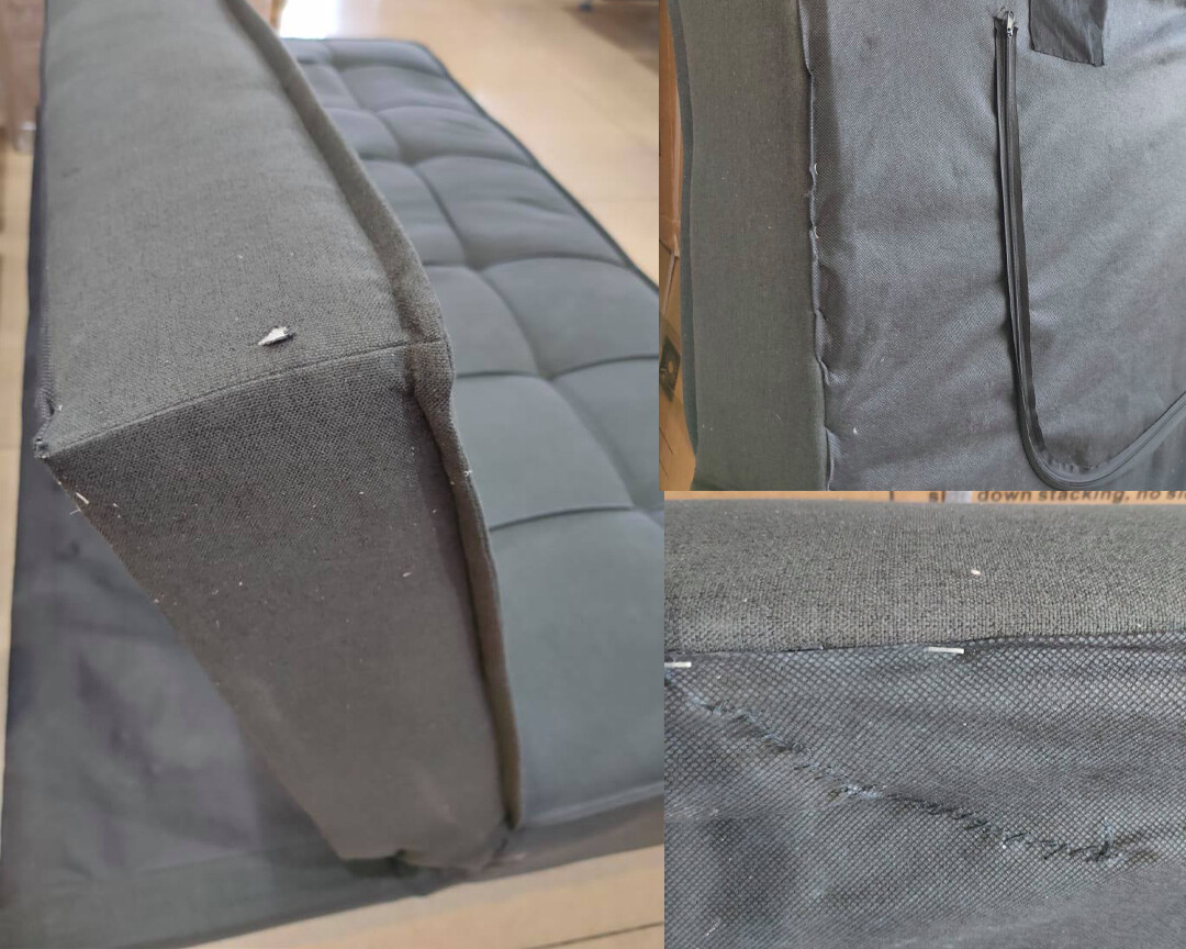 (Sale) Flotti Valence Sofa Bed (Black) (Repaired/Torn/Stiches/No Pillows)