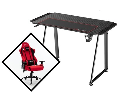 OFX Gaming Desk & Chair Set (Black, Red)