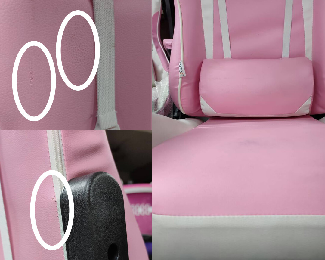 Sale) OFX Gideon Steel Base Gaming Chair (White+Pink) (Scratches/Light Torn/Seat Cushion Stain)