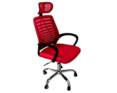 (Sale) Ofix Deluxe-43 High Back Mesh Office Chair (Red) (Light Scratches & Headrest Mismatch)