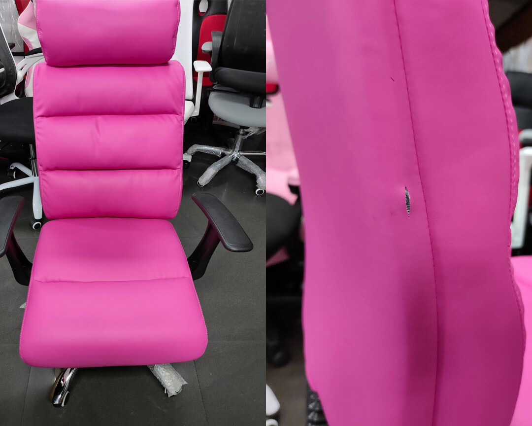 (Sale) Ofix Premium-15 High Back PU Chair (Pink) (Backrest Torn)