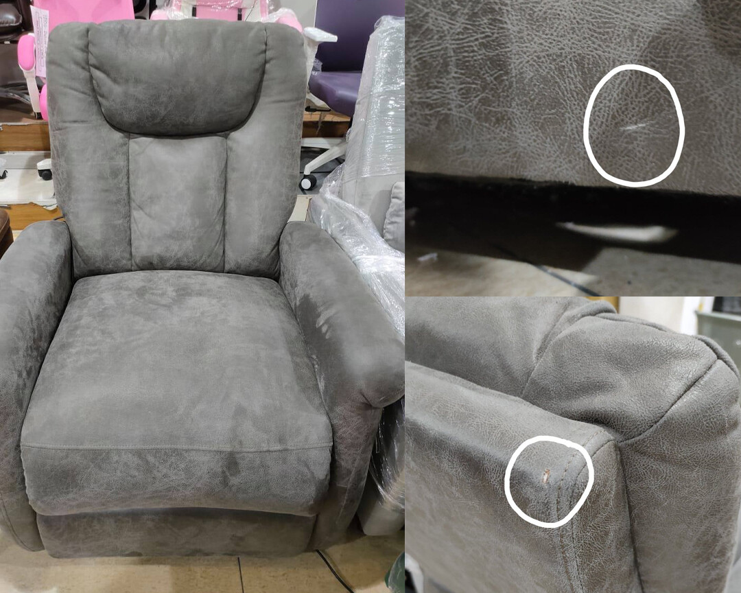 (Sale) Flotti Power Lift Chair (Color: Smoke grey) (Scratches & Torn)