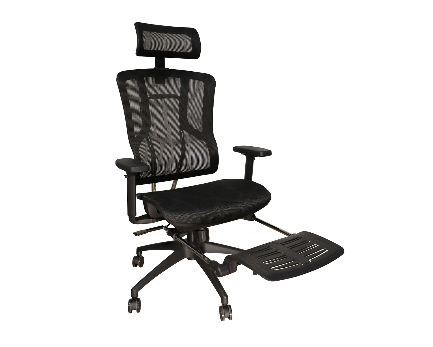 Ofix Deluxe-Z87 High Back All Mesh Chair With Footrest (Black, Grey)