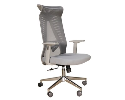 (Sale) Ofix Deluxe-Z88 High Back Mesh Chair (Grey) (Backrest Mesh Torn)