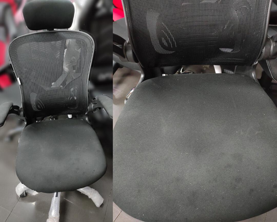 (Sale) Ofix Premium-31 Mesh Chair (Black) (Torn & Scratches) (Scratches & Seat Cushion white dots)