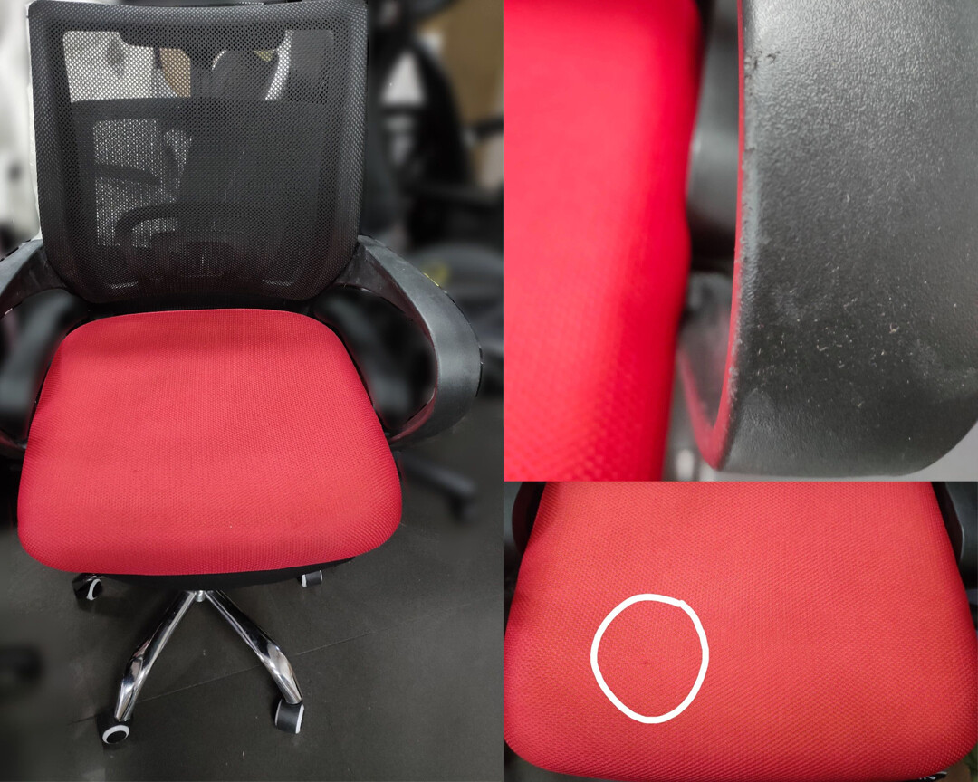 (Sale) Ofix Deluxe-5 Mid Back Mesh Chair (Black+Red) (Scratches & Seat Cushion Torn)