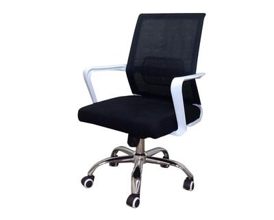 Ofix Deluxe-28 Mid Back Mesh Chair (All Black, Black Mesh-White Frame)