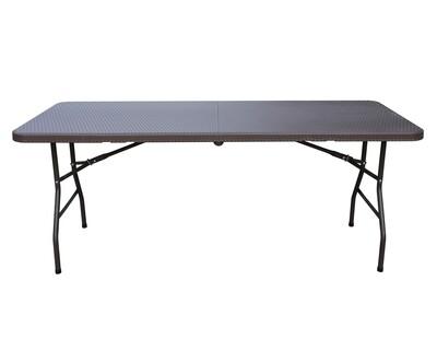 Ofix Rattan 6FT Folding in Half Table (Coffee)