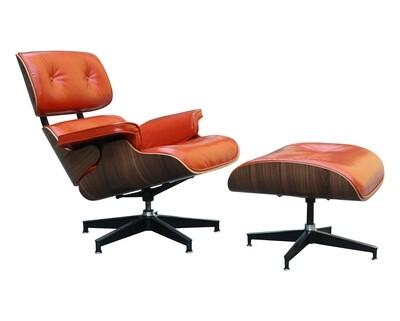 Flotti Luella Lounge Chair (w/ Ottoman) (Reddish Orange)