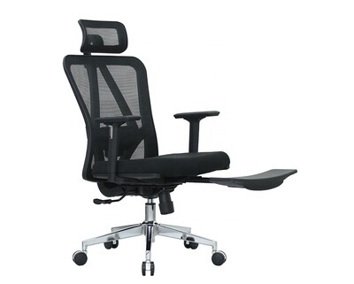 Ofix Deluxe-D18F With Footrest Mesh Chair (Black, Grey)