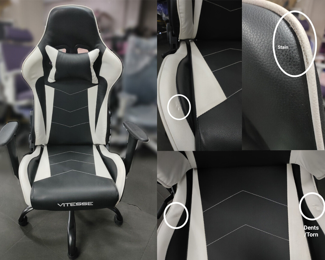 (Sale) OFX Vitesse Steel Base Gaming Chair (White+Black) (Scratches/Stain/Seat Cushion Torn)
