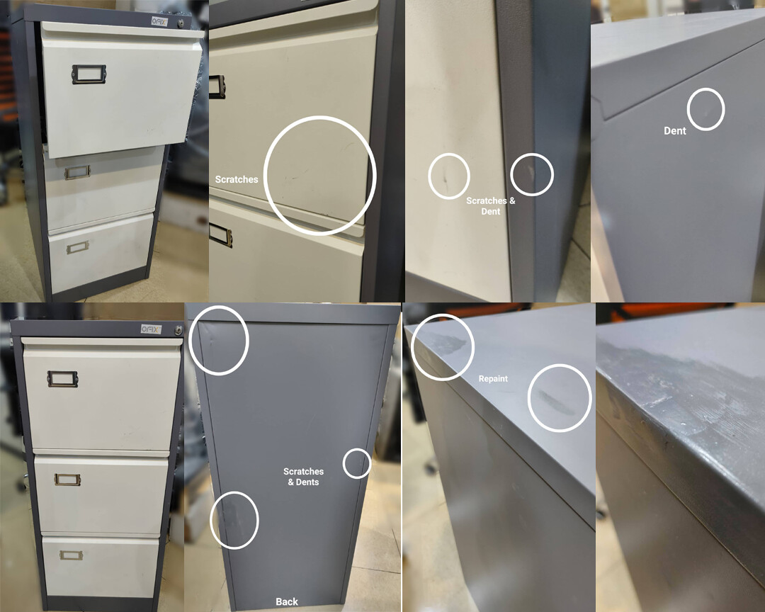 (Sale)Ofix Steel Vertical Filing 3 Drawer Cabinet (Scratches/Dents/Repaint)