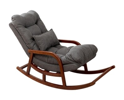 (Sale) Flotti Sabrina Balcony/ Living Room Solid Wood Rocking Chair (Dark Grey) (Wood Scratches & Dents)
