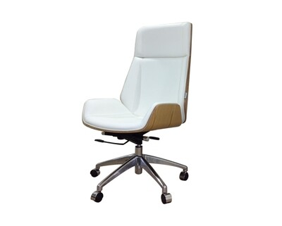 (Sale) Ofix Premium H10 Bentwood Walnut Office Chair (White) (Backrest Wood Frame Scratches & Small Hole)