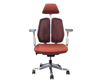 Ofix Premium X27 Double Back Office Chair (Black, White+Salmon Pink)