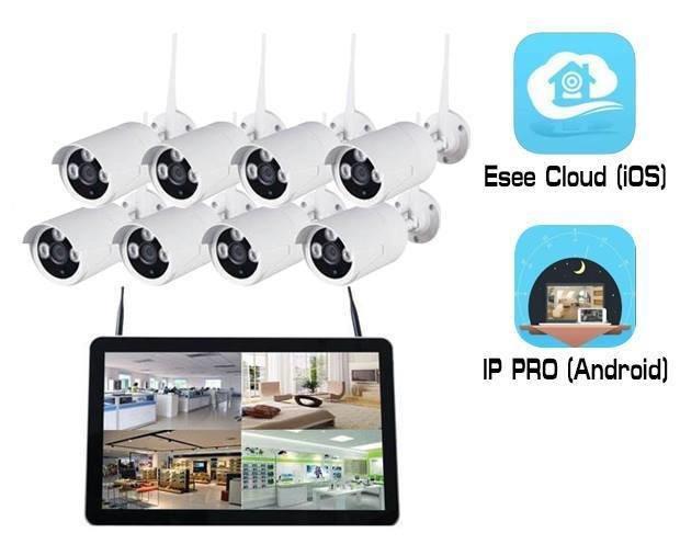"Qube Wireless NVR CCTV Kit 8Ch 1080P 12.5"" LCD"