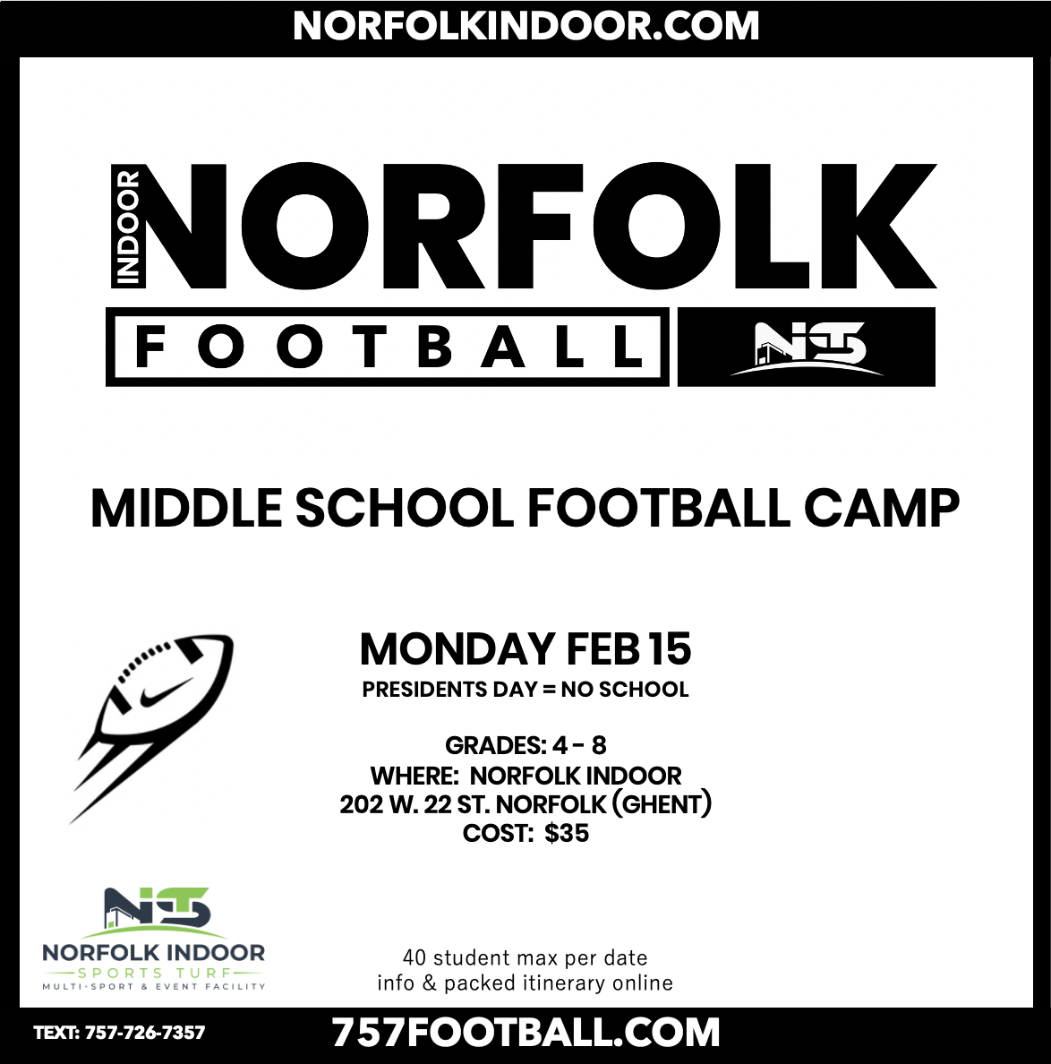 MIDDLE SCHOOL FOOTBALL CAMP