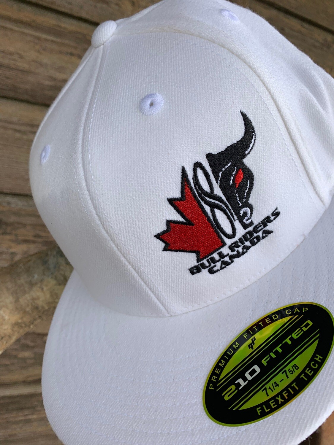 FLEXFIT 210 Premium Fitted Cap - BRC Logo Embroidered - White or Red Available