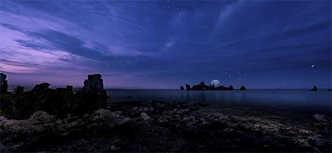 Setting Moon On the Horizon - Mono Lake --  Starting at