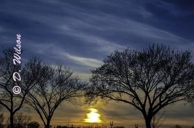 Sun setting over Washington D.C