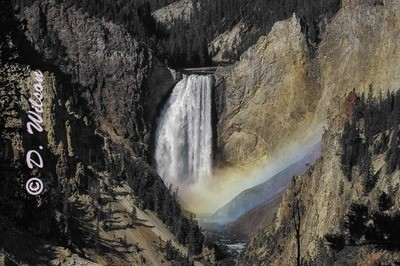 Yellowstone Lower Falls Rainbow, Wy --  starting at