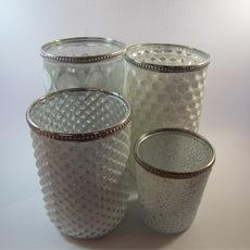 Teelichtvasen-Set Glas weiss